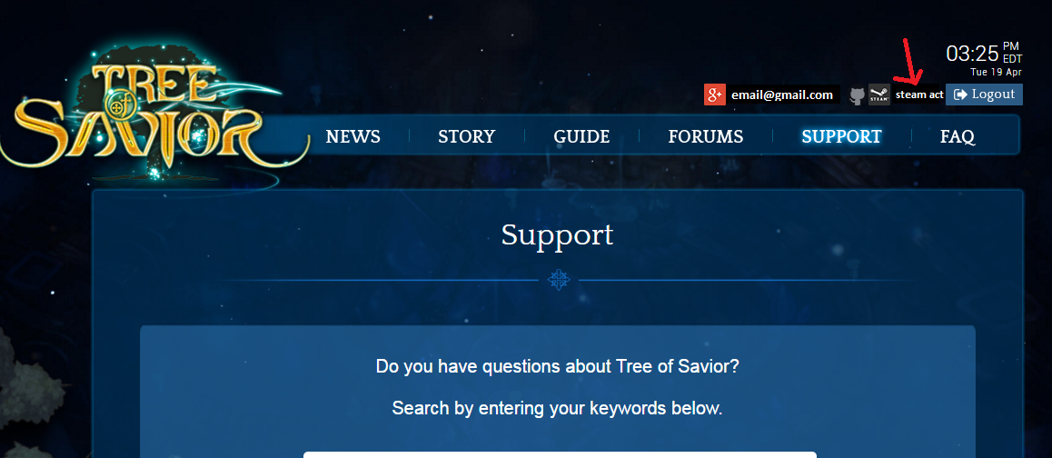 Cant write a support ticket - Help Center - Tree of Savior Forum