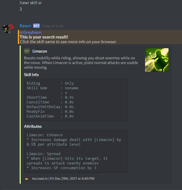 Discord ROBOT] Rawr! Show TOS info in Discord - Game Tips