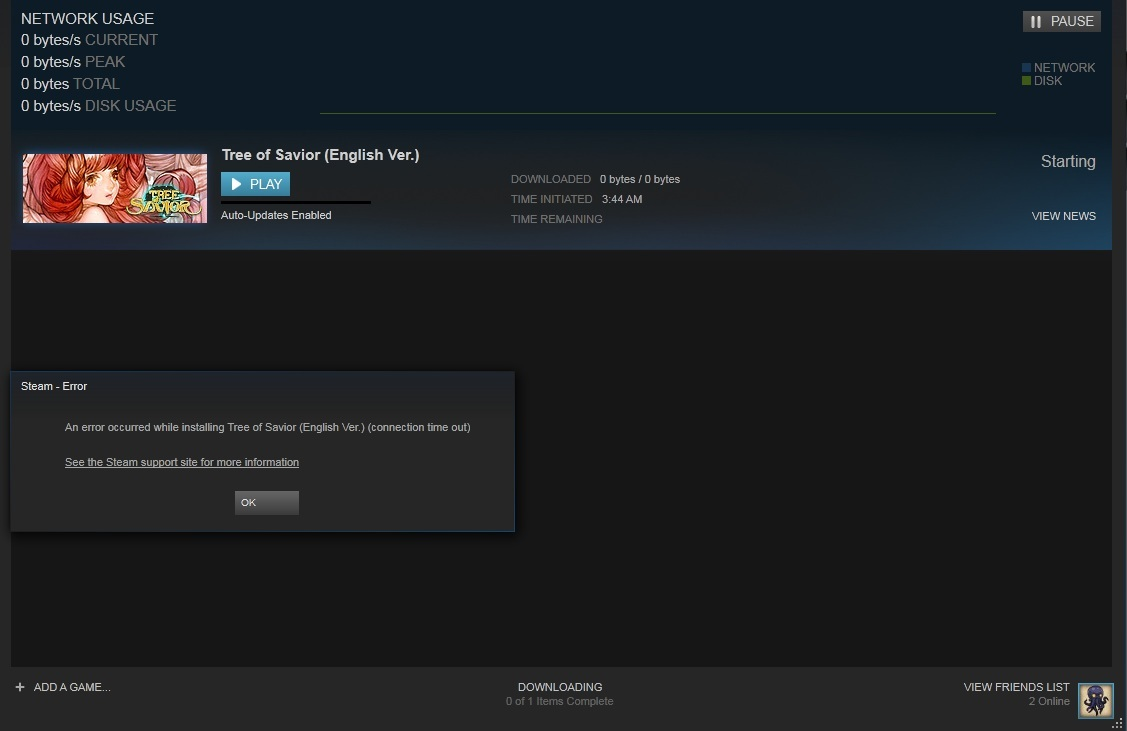 Steam download 0 bytes/s has a matchmaking cooldown